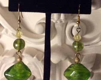 Green murano glass drop earrings