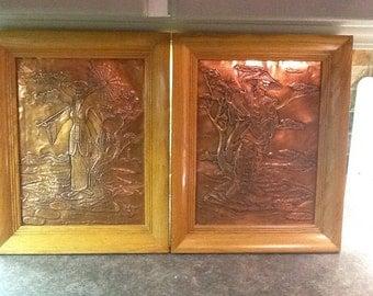 Pair vintage copper embossed oriental asian art framed pictures