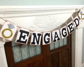 ENGAGED Banner, Engagement Banner, Wedding Photo Prop, Wedding Garland