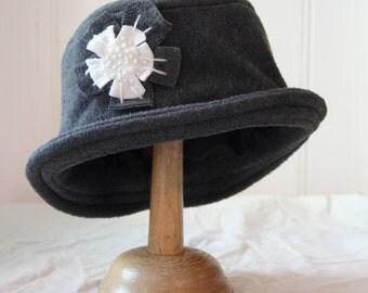 grey daisy cloche hat