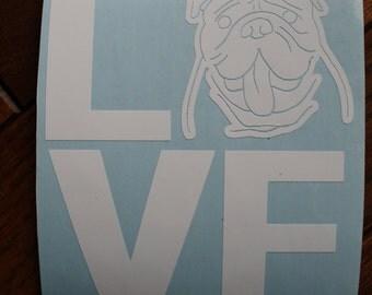 LOVE -English Bulldog window decal