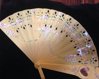 Sweet antique celluloid childs fan
