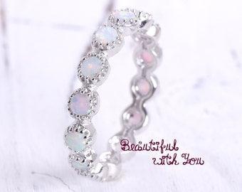 Unique Opal Eternity Ring | Lab Created Opal Full Eternity Ring | Sterling Silver Promise Opal Ring |  Womens Opal Eternity Wedding Ring