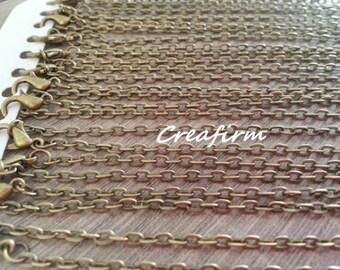 12 necklaces Bronze 4x4mm
