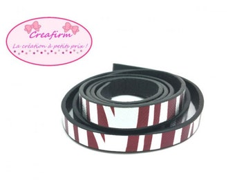 1 m leather Zebra flat Silver clear 10mm Brown