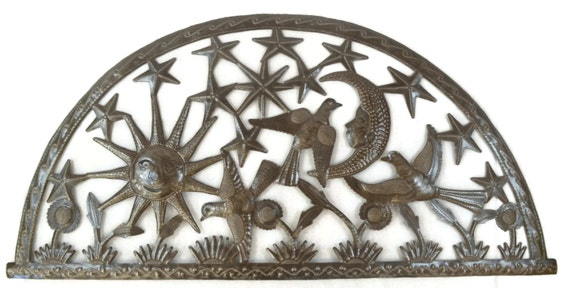 "Sun, Moon, and Stars Wall Art from Recycle Metal, Haiti 34"" x 17"""