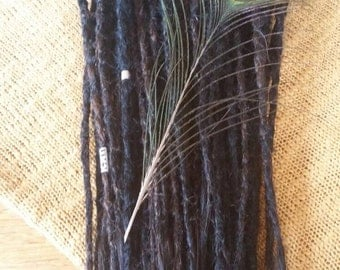 "Full Set  18"" REMY Dreadlock Extensions BLACK"