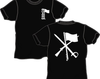 Color Guard T-Shirt in Black with White Ink