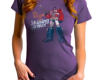 Transformers Knight In Shining Armor (HAS0166-102HPR)  Women's T-shirt. Transformers, robots, autobot crew, comics, Optimus Prime, 80's tee.