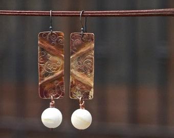 Long earrings Tribal earrings Geometric earrings Hammered earrings Shell earrings Patina earrings Boho earrings Bohemian earrings Handmade
