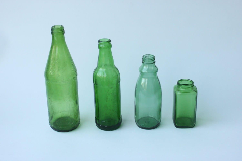Vintage green glass bottles for Retro glass bottles