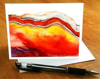 Abstract Watercolor Card, Abstract Geology Greeting Card, Contemporary Art Card, Watercolor Greeting Card, Orange Agate card, Red Agate Card