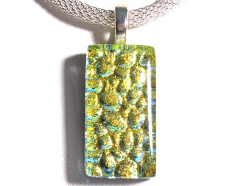 Yellow Gold Dichroic Glass Pendant, Pebble Texture, Silver Adjustable Necklace