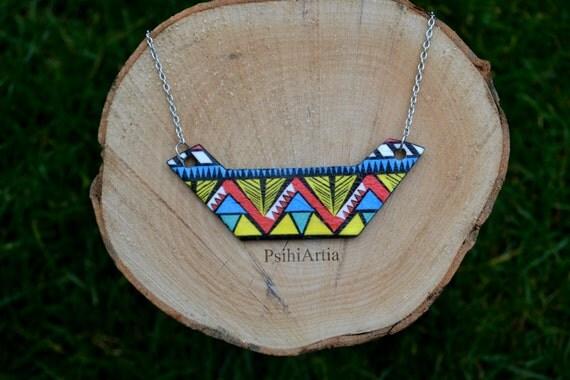 Geometric necklace Geometric jewelry Decoupage jewelry Triangle necklace Triangle jewelry Polymer clay necklace One of a kind Summer jewelry