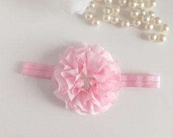 Pink Baby Headbands, Newborn headband, Flower Baby Headband, Infant Headband, Photo Prop