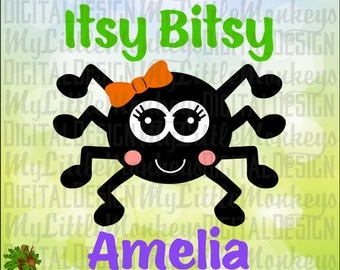 Spider SVG ~ Itsy Bitsy Spider ~ Cute Spider ~ Spider with Bow ~ Halloween svg ~ Kids svg ~ Baby svg Commercial Use SVG Cut File dxf-eps-png