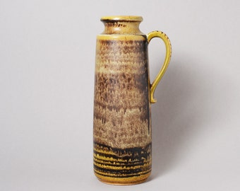 Vintage West German Pottery. Large Scheurich Vase with Yellow and Brown Glaze. 1960s/70s.