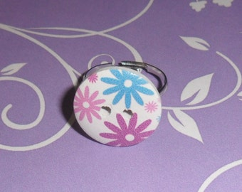 Flower button adjustable ring