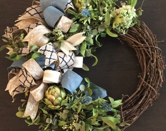 "Spring/Summer Floral Wreath, 18"" Grapevine Wreath, Navy and Burlap Ribbon with Artichokes"