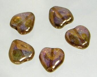 Heart Bead, Czech Glass, 12x11mm, Lumi Brown, (heart-12x11-lumibrown), 5 count
