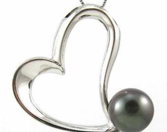 9-10mm Tahitian Black Pearl 925 Silver Heart Pendant BP82728STA