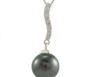 Top Quality 9-10mm Tahitian Black Pearl Diamond Pendant in 14K White Gold SFP302768WTA