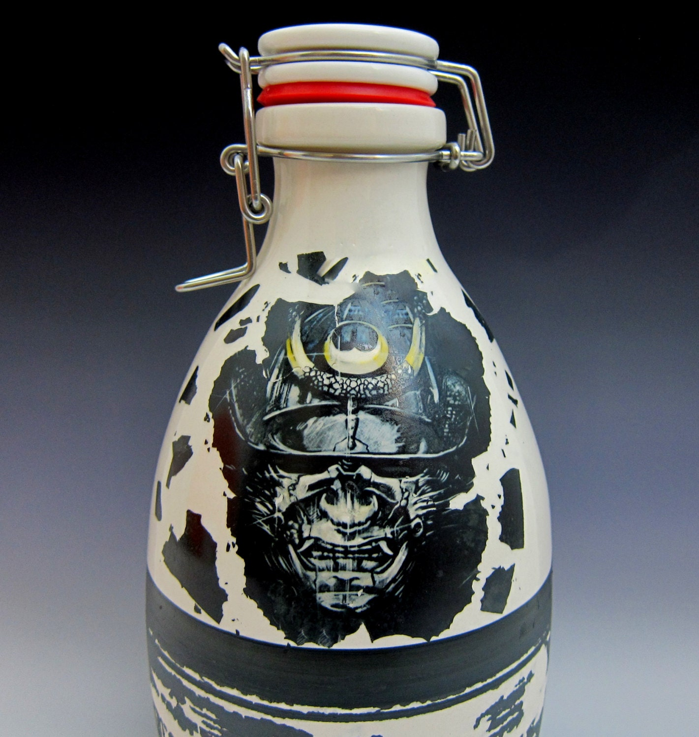 Japanese samurai warrior mask Growler by handmadegrowlers ...