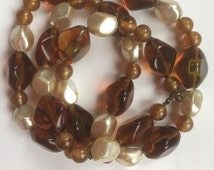 Vintage Simulated Amber and Pearl Glass Necklace/Translucent Glass Beads/Round Beads/Potato Shape Beads/1960s