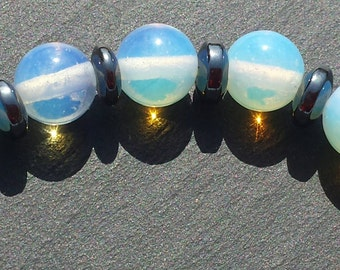8mm opalite and hematite beaded stretch bracelet