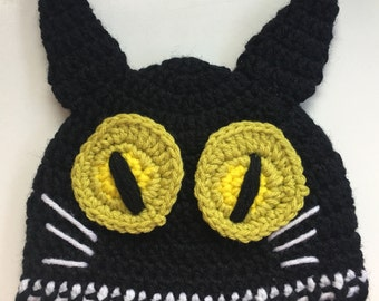HALLOWEEN Hat TODDLER Cat Kitty Beanie Costume Kids Crochet Kitty Hat Knit Cat Costume