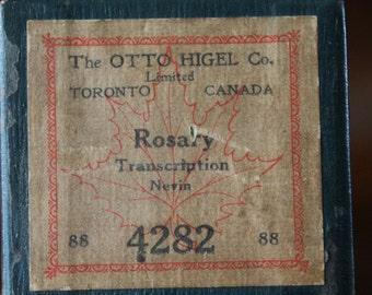 Otto Higel Player Piano Roll, 4282 Rosary Transcription Nevon Early 1900s Music 88 Keys