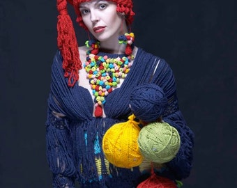 Handmade crochet dress  Multicolor