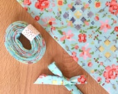 "Bias Tape- Kaufman Woodland Clearing Digital Floral in Turquoise Blue 1/2"" double-fold binding- 3 yard roll"