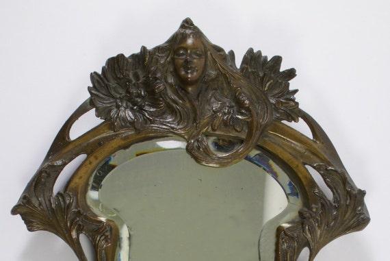 Bronze Wall Mirror: Antique Art Nouveau Bronze Wall Mirror By SimonCurtisAntiques