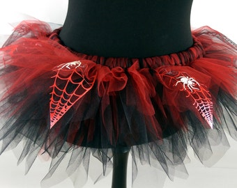 Red & Black Spider Web with Glow in the Dark Spiders Tutu - Available in Teenage, Adult + Plus Sizes