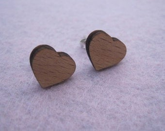 Wooden Earrings - Heart Studs