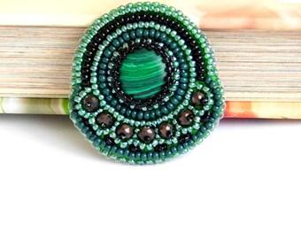 Green cameo brooch, embroidered brooch, beadwork brooch