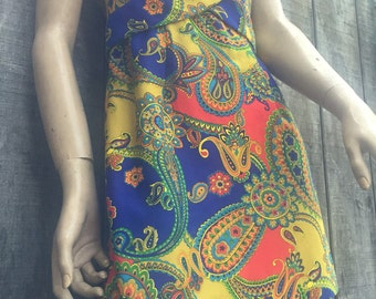 Amazing psychedelic early 70's paisley mini dress.