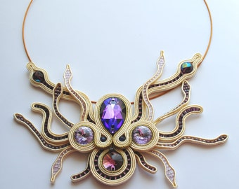 LAVENDER STAR NECKLACE Statement Soutache Necklace
