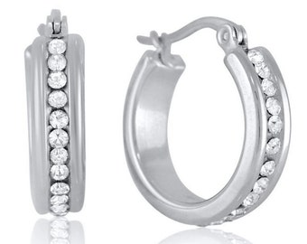 """3/4"""" inch Silver Eternity All Around CZ Hoop Earrings with White Cubic Zirconia Accents 20mm"""