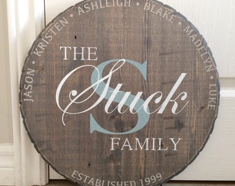Monogram Wood Sign, Family Plaque, Round Wood Sign