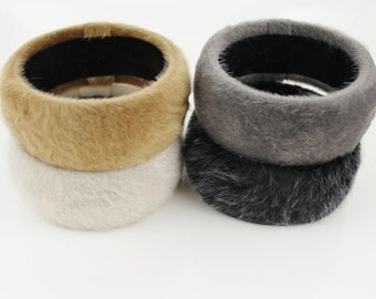 Furry fabric covered bangle bracelet fur covering bracelet faux fur bangle bracelet Black Grey Brown Cream