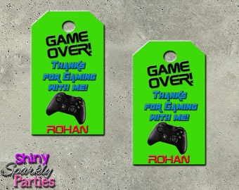 """Printable """"GAMING FAVOR TAGS"""" - Video Game Party Favor Tags - Game Favor Tags - Video Game Birthday Party Favor Tags - Teen Birthday"""