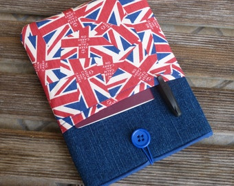 kindle case, Kindle paperwhite case, Kindle Voyage cover,  Kobo Glo HD case, Kobo Touch case, Denim  - Union Jack Flag -  SALE