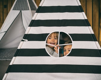 Teepee - black stripes - NOW from CANVAS material !!!