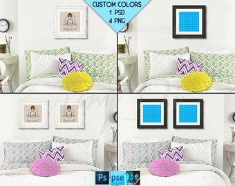 Square #R04 Ornate White Black Set of 2 Square Matted Frames in Bedroom Colorful pillows, 4 Print Display Mockups, PNG PSD PSE Custom colors