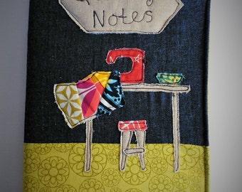 Ready to ship. Quilting Notes fabric covered A5 notebook.