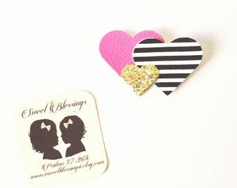 Trio heart hair clip