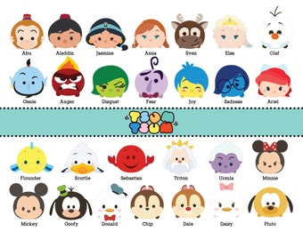 DISNEY TSUM TSUM. 65 Images at 300dpi Resolution Digital Clipart. Disney Tsum Tsum Birthday Party. Party Supplies.