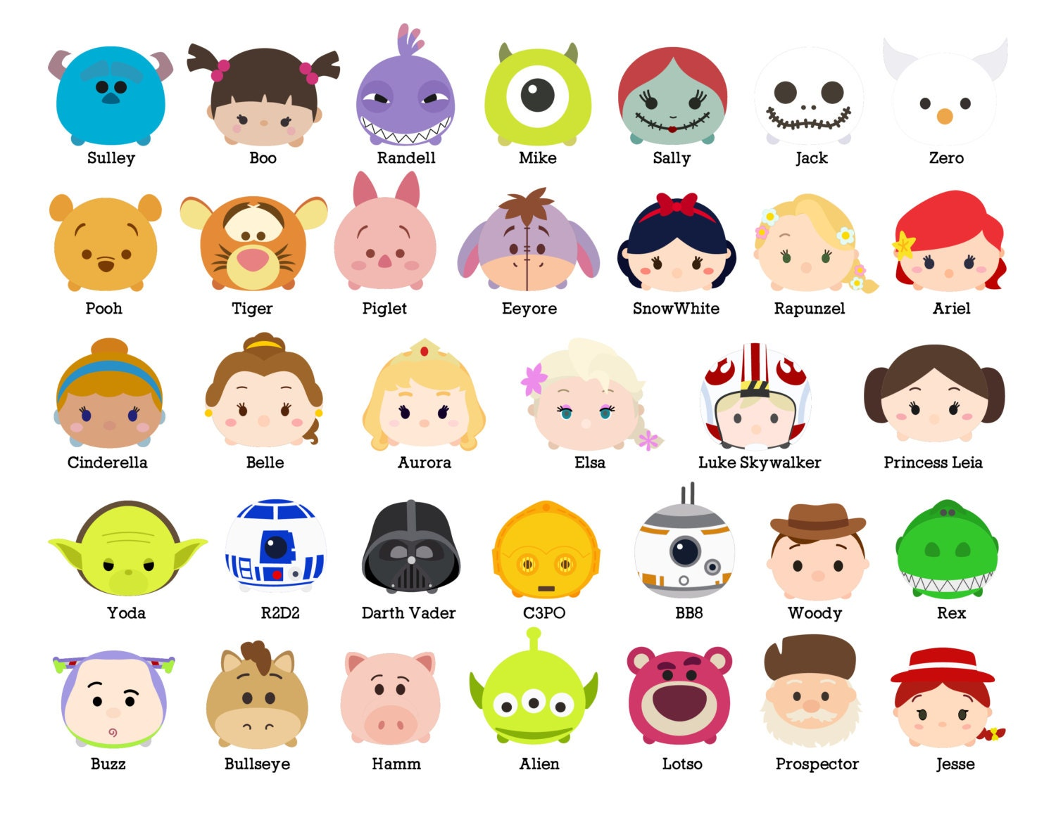 It's just a graphic of Soft Tsum Tsum Characters Names